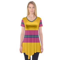 Layer Retro Colorful Transition Pack Alpha Channel Motion Line Short Sleeve Tunic
