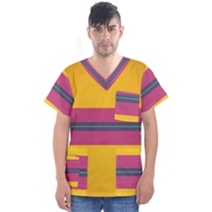 Layer Retro Colorful Transition Pack Alpha Channel Motion Line Men s V Neck Scrub Top by Mariart