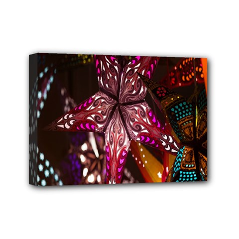Hanging Paper Star Lights Mini Canvas 7  X 5  by Mariart
