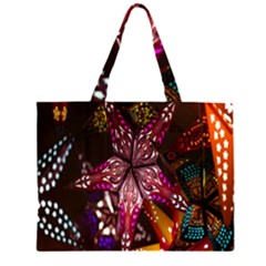 Hanging Paper Star Lights Zipper Large Tote Bag by Mariart