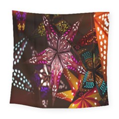 Hanging Paper Star Lights Square Tapestry (large)