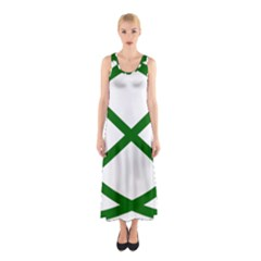 Lissajous Small Green Line Sleeveless Maxi Dress by Mariart