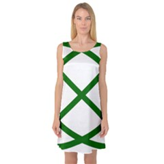 Lissajous Small Green Line Sleeveless Satin Nightdress by Mariart