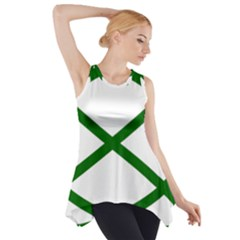 Lissajous Small Green Line Side Drop Tank Tunic