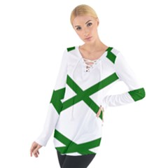 Lissajous Small Green Line Tie Up Tee by Mariart
