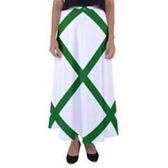 Lissajous Small Green Line Flared Maxi Skirt