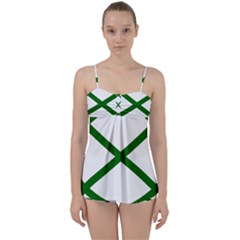 Lissajous Small Green Line Babydoll Tankini Set by Mariart