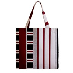 Line Streep Vertical Horizontal Zipper Grocery Tote Bag