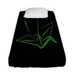 Origami Light Bird Neon Green Black Fitted Sheet (single Size) by Mariart