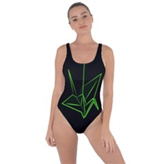 Origami Light Bird Neon Green Black Bring Sexy Back Swimsuit by Mariart