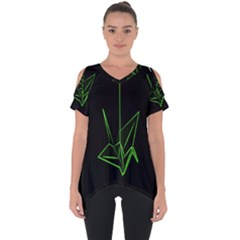 Origami Light Bird Neon Green Black Cut Out Side Drop Tee by Mariart