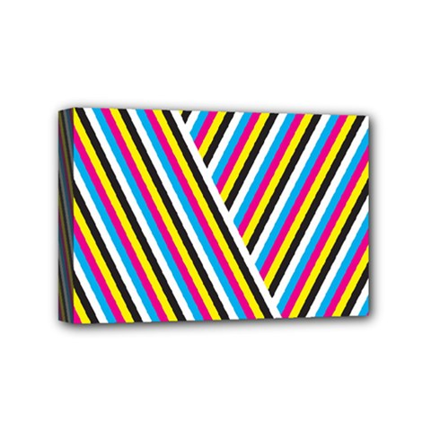 Lines Chevron Yellow Pink Blue Black White Cute Mini Canvas 6  X 4  by Mariart