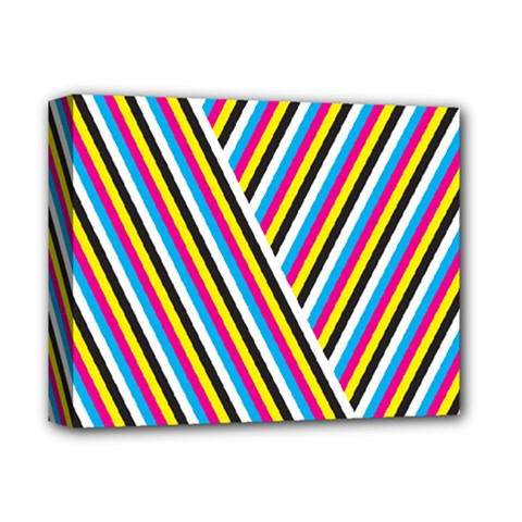Lines Chevron Yellow Pink Blue Black White Cute Deluxe Canvas 14  X 11  by Mariart