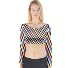 Lines Chevron Yellow Pink Blue Black White Cute Long Sleeve Crop Top by Mariart
