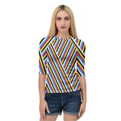 Lines Chevron Yellow Pink Blue Black White Cute Quarter Sleeve Raglan Tee