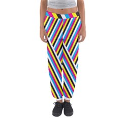 Lines Chevron Yellow Pink Blue Black White Cute Women s Jogger Sweatpants by Mariart