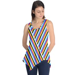Lines Chevron Yellow Pink Blue Black White Cute Sleeveless Tunic by Mariart
