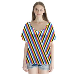 Lines Chevron Yellow Pink Blue Black White Cute V Neck Flutter Sleeve Top by Mariart