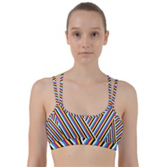 Lines Chevron Yellow Pink Blue Black White Cute Line Them Up Sports Bra