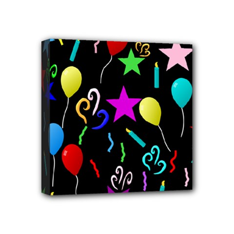 Party Pattern Star Balloon Candle Happy Mini Canvas 4  X 4