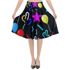 Party Pattern Star Balloon Candle Happy Flared Midi Skirt by Mariart