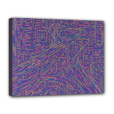Infiniti Line Building Street Line Illustration Canvas 14  X 11