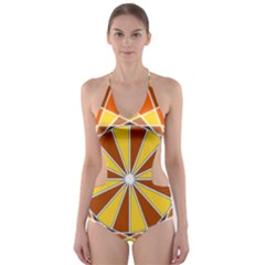 Ornaments Art Line Circle Cut Out One Piece Swimsuit