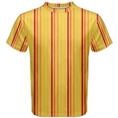 Red Orange Lines Back Yellow Men s Cotton Tee