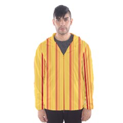 Red Orange Lines Back Yellow Hooded Wind Breaker (men) by Mariart