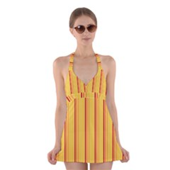 Red Orange Lines Back Yellow Halter Swimsuit Dress by Mariart