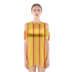 Red Orange Lines Back Yellow Shoulder Cutout One Piece