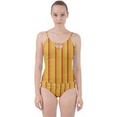 Red Orange Lines Back Yellow Cut Out Top Tankini Set
