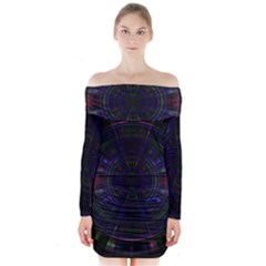 Psychic Color Circle Abstract Dark Rainbow Pattern Wallpaper Long Sleeve Off Shoulder Dress