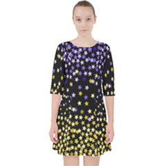 Space Star Light Gold Blue Beauty Pocket Dress