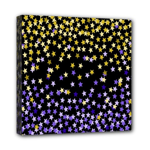 Space Star Light Gold Blue Beauty Black Mini Canvas 8  X 8  by Mariart