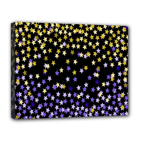 Space Star Light Gold Blue Beauty Black Canvas 14  X 11