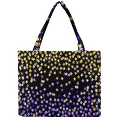 Space Star Light Gold Blue Beauty Black Mini Tote Bag by Mariart
