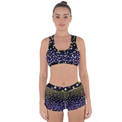 Space Star Light Gold Blue Beauty Black Racerback Boyleg Bikini Set