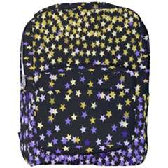 Space Star Light Gold Blue Beauty Black Full Print Backpack by Mariart