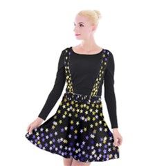Space Star Light Gold Blue Beauty Black Suspender Skater Skirt