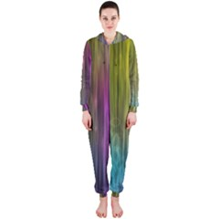 Rainbow Bubble Curtains Motion Background Space Hooded Jumpsuit (ladies)