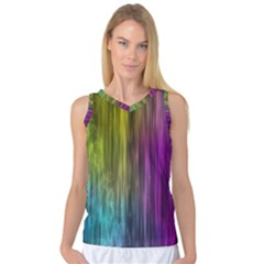 Rainbow Bubble Curtains Motion Background Space Women s Basketball Tank Top by Mariart