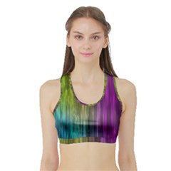 Rainbow Bubble Curtains Motion Background Space Sports Bra With Border by Mariart