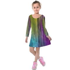 Rainbow Bubble Curtains Motion Background Space Kids  Long Sleeve Velvet Dress by Mariart