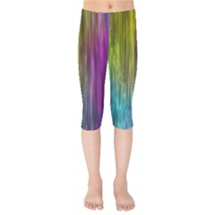 Rainbow Bubble Curtains Motion Background Space Kids  Capri Leggings  by Mariart