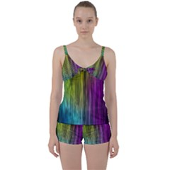 Rainbow Bubble Curtains Motion Background Space Tie Front Two Piece Tankini