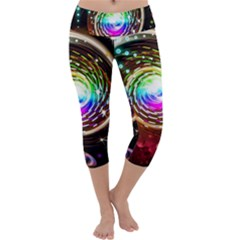 Space Star Planet Light Galaxy Moon Capri Yoga Leggings by Mariart