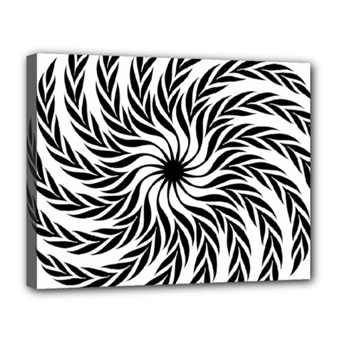 Spiral Leafy Black Floral Flower Star Hole Canvas 14  X 11