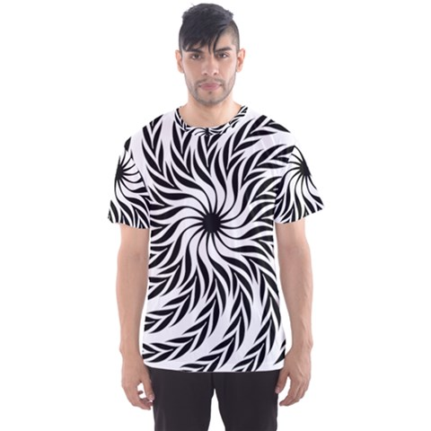 Spiral Leafy Black Floral Flower Star Hole Men s Sports Mesh Tee by Mariart