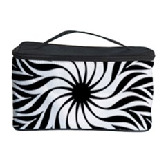 Spiral Leafy Black Floral Flower Star Hole Cosmetic Storage Case by Mariart